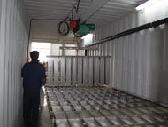 Containerized brine system block ice making machine